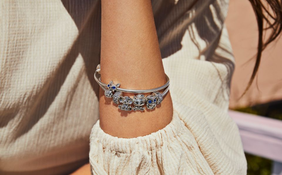 Sterling silver Pandora bracelet and bangle with animal charms