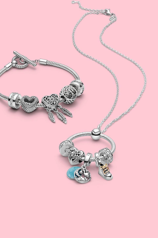 Pandora象征物(Pandora Symbolic)系列:配有象征物串饰的Pandora Rose串饰手链