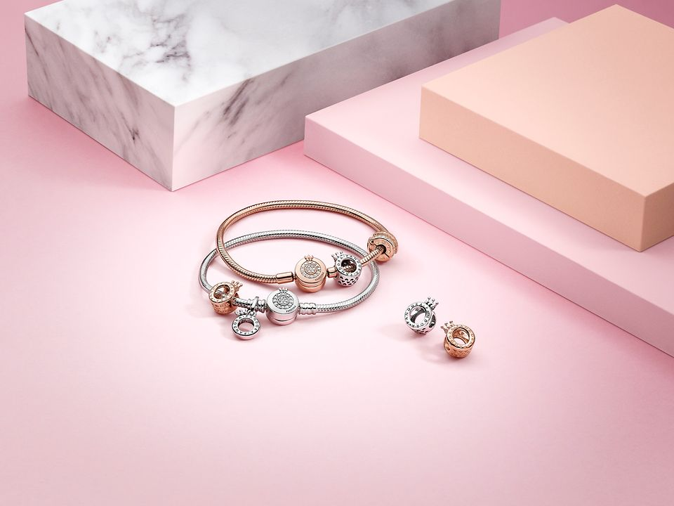 Pandora Signature charms and bracelets in silver and Pandora Rose™