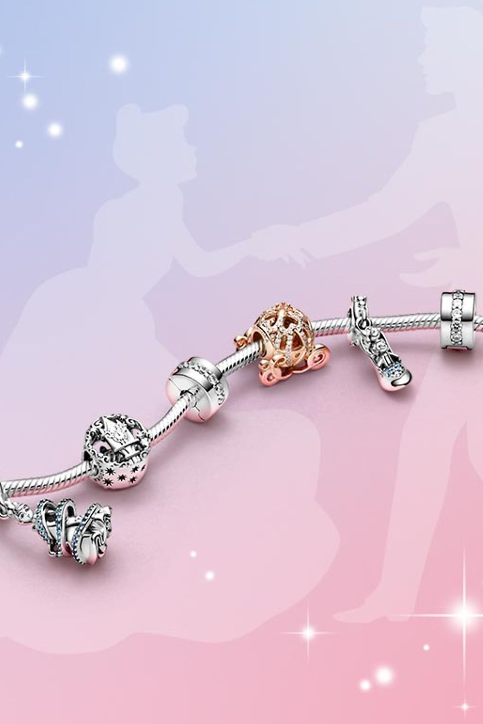 Disney's Cinderella charms from the Disney x Pandora collection on a bracelet.