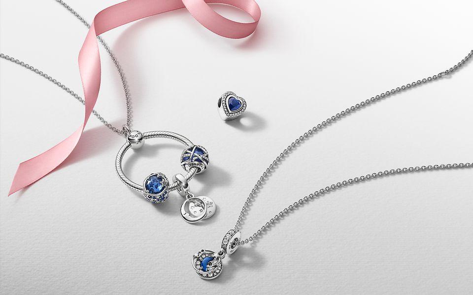 Pandora Passions charms on a necklace and Pandora O Pendant.
