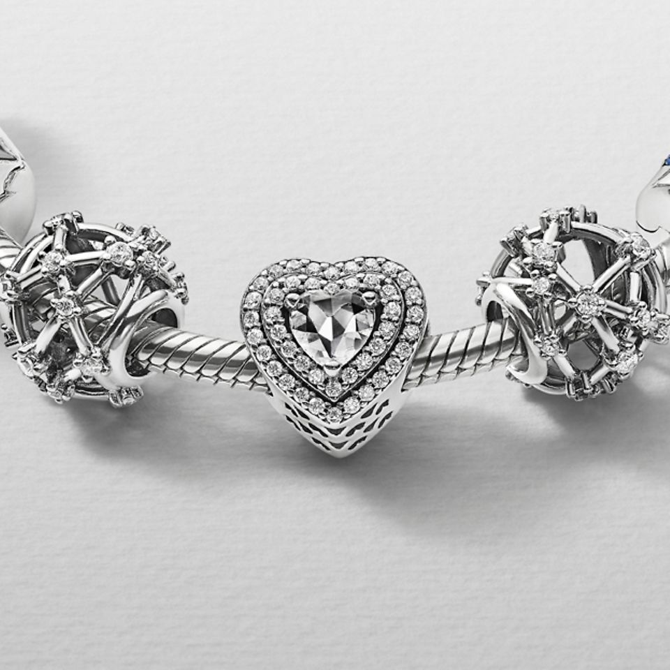 Pandora Passions charms on a bracelet hand-finished in sterling silver.