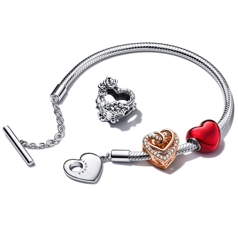 Pandora Moments Heart T-Bar Snake Chain Bracelet with heart-shaped charms.