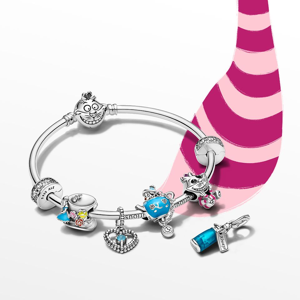 Disney x Pandora bracelet and charms inspired by Disney's Alice in Wonderland.