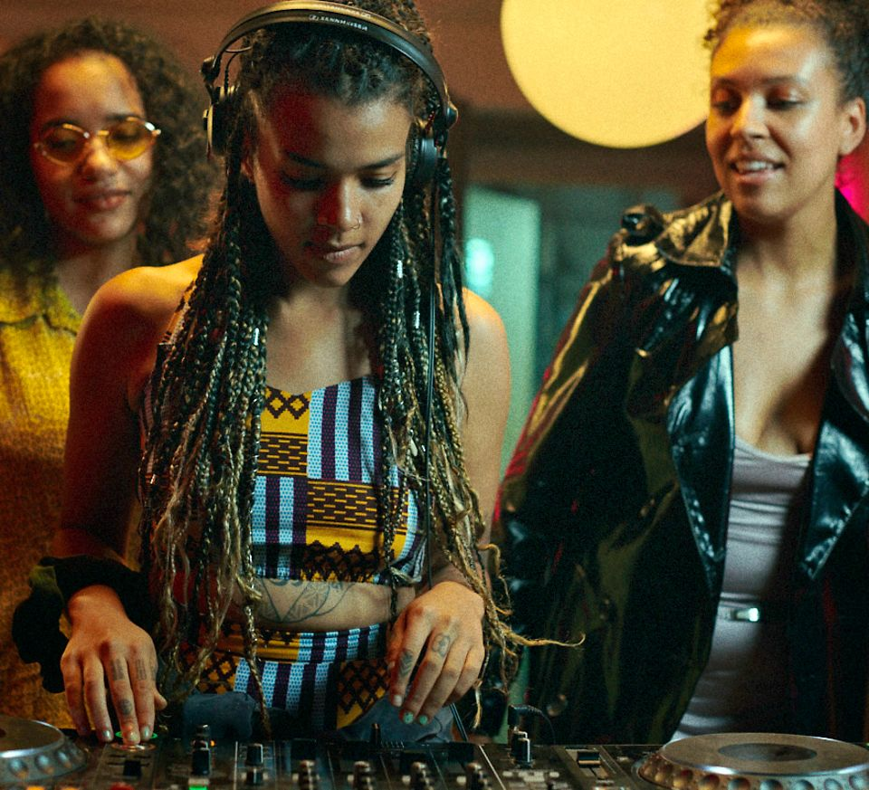 Shot from Pandora's Our Sisterhood series featuring DJ collective Creole Cuts.
