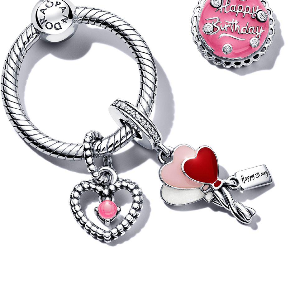 Pandora O Pendant with birthday themed charms and pendants.
