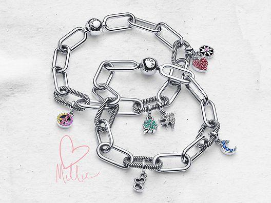 Pandora Me Charm-Armbänder aus Sterling-Silber mit Mikro-Charm-Anhänger