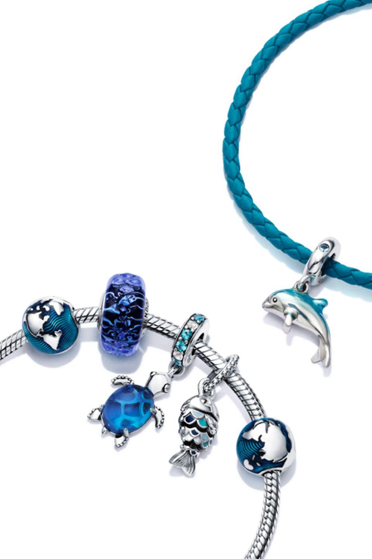 Pandora 藍色海洋925銀藍色串飾配串飾手鏈