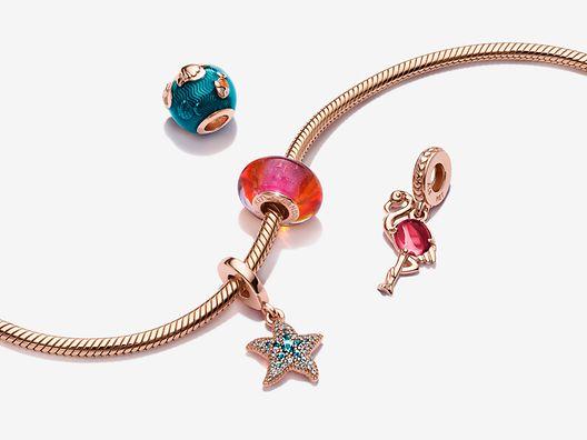 Pulsera Diseño Cadena de Serpiente Océano Azul y charms de animales marinos en Pandora Rose