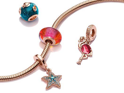 Blue Ocean snake chain bracelet and ocean animal charms in Pandora Rose