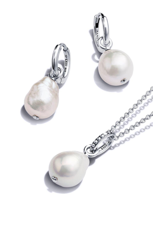 Collana e orecchini Oceano blu Pandora in Argento Sterling 925 e con perle coltivate d'acqua dolce