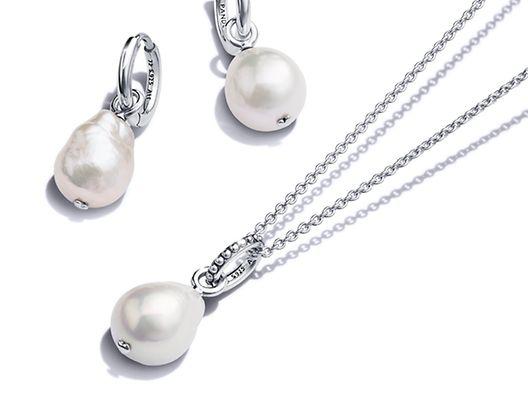 Pandora 藍色海洋925銀淡水養殖珍珠項鏈與耳環