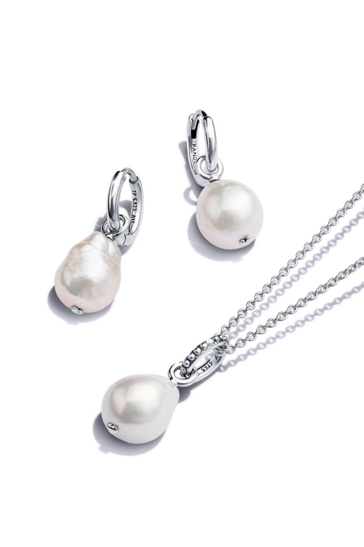 Pandora Blue Ocean Sterling-Silber und Süßwasserzuchtperle Halskette und Ohrringe