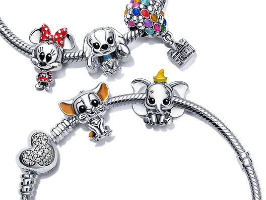 Sterling silver charm carriers with Disney x Pandora Favourites charms