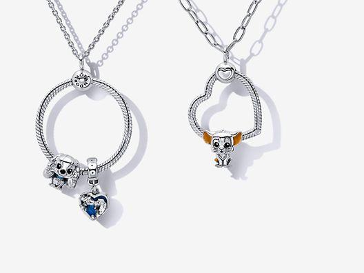 Colgantes O Pandora con charms de Favoritos de Disney x Pandora en plata de primera ley
