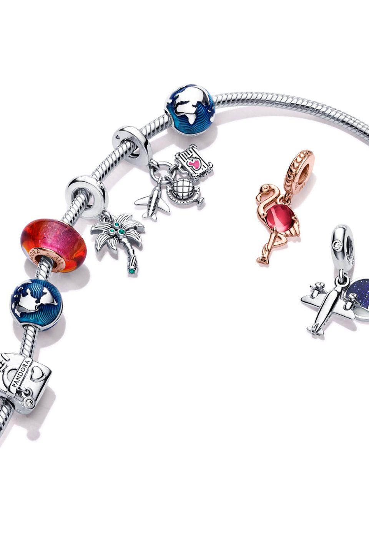 Bracciale portacharm in Argento Sterling 925 con charm ispirati alle icone nazionali e ai viaggi Pandora Moments