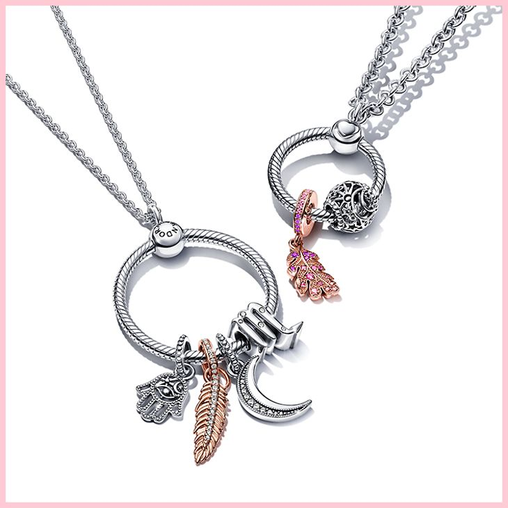 Sterling silver Pandora O Pendant Necklace with charms from Pandora Moments collection
