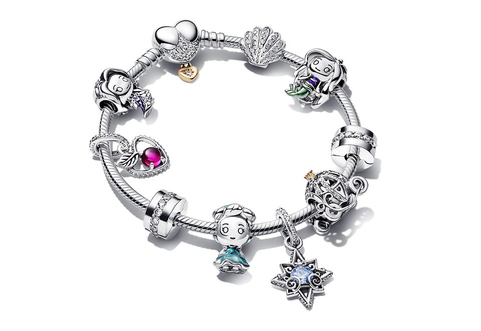 Sterling silver bracelet with charms from Disney x Pandora collection