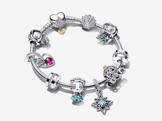 Bracciale in argento sterling 925 con charm della collezione Disney x Pandora