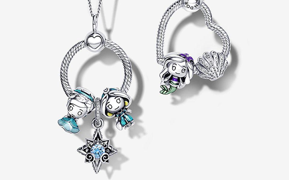 Pendente Pandora O in argento sterling 925 con charm Disney x Pandora