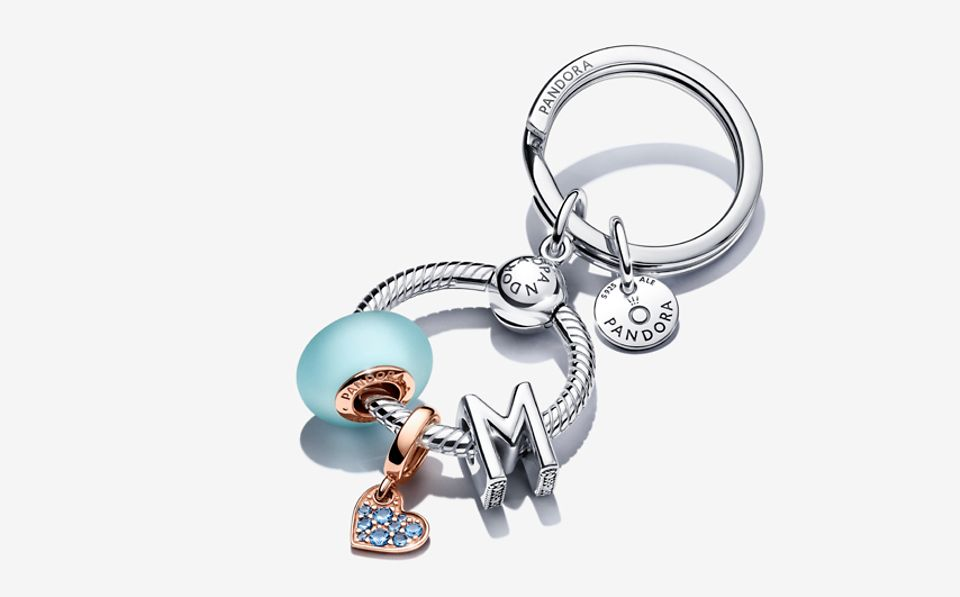 Silver key ring with colourful charms from Pandora Moments collection