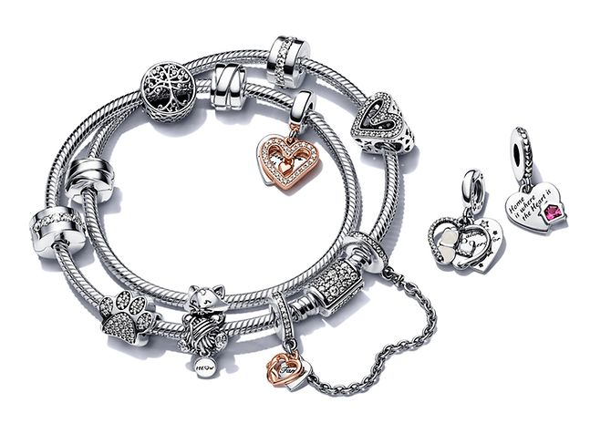 Sterling silver bracelets with colourful charms from Pandora Moments collection