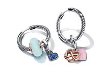 Sterling silver hoop earrings with colourful charms from Pandora Moments collection
