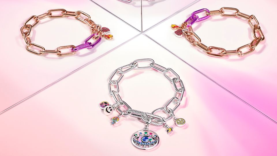Two Pandora ME Silver Link Charms Bracelets and two rose gold-plated
