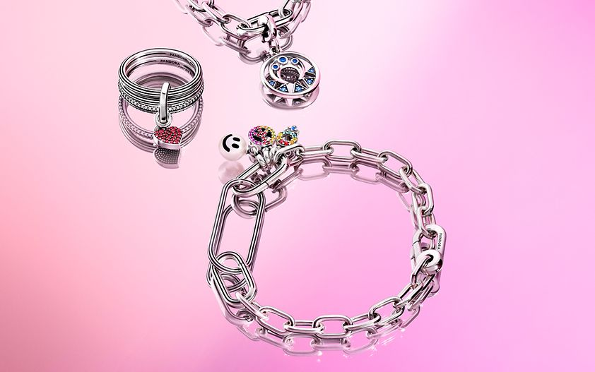 Pandora ME Link Silver Necklace with Pendant. Silver link Bracelet and Ring