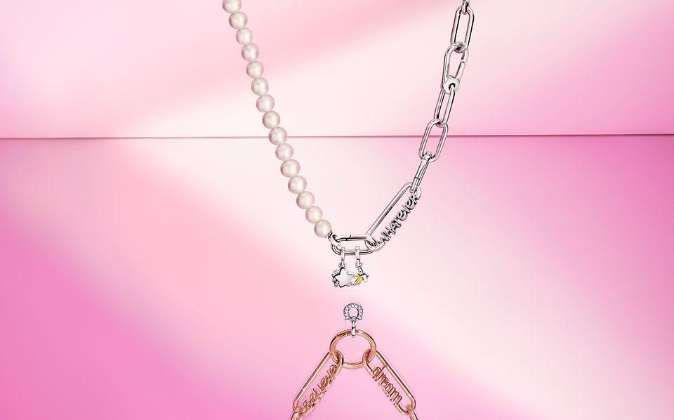 Collar de eslabones y perlas