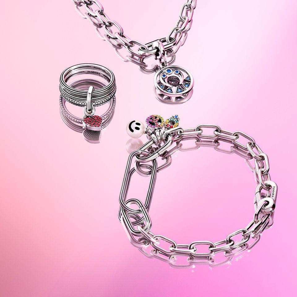 Pandora ME Silberne Link-Halskette mit Anhänger. Silbernes Link-Armband und Ring