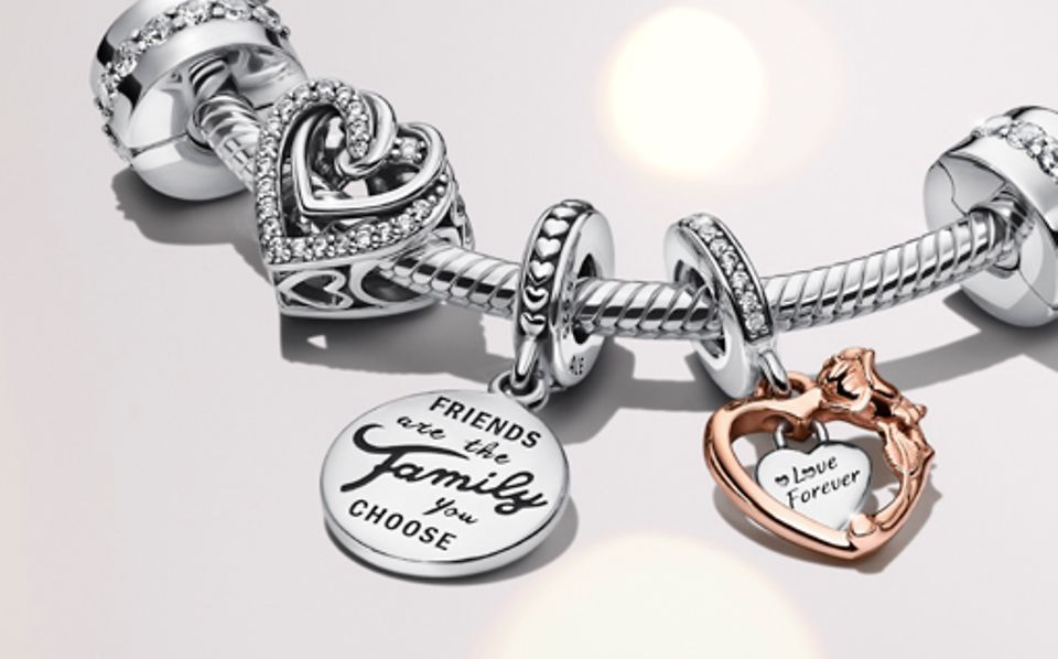 Sterling silver Pandora Moments bracelet with Family & Friends charms