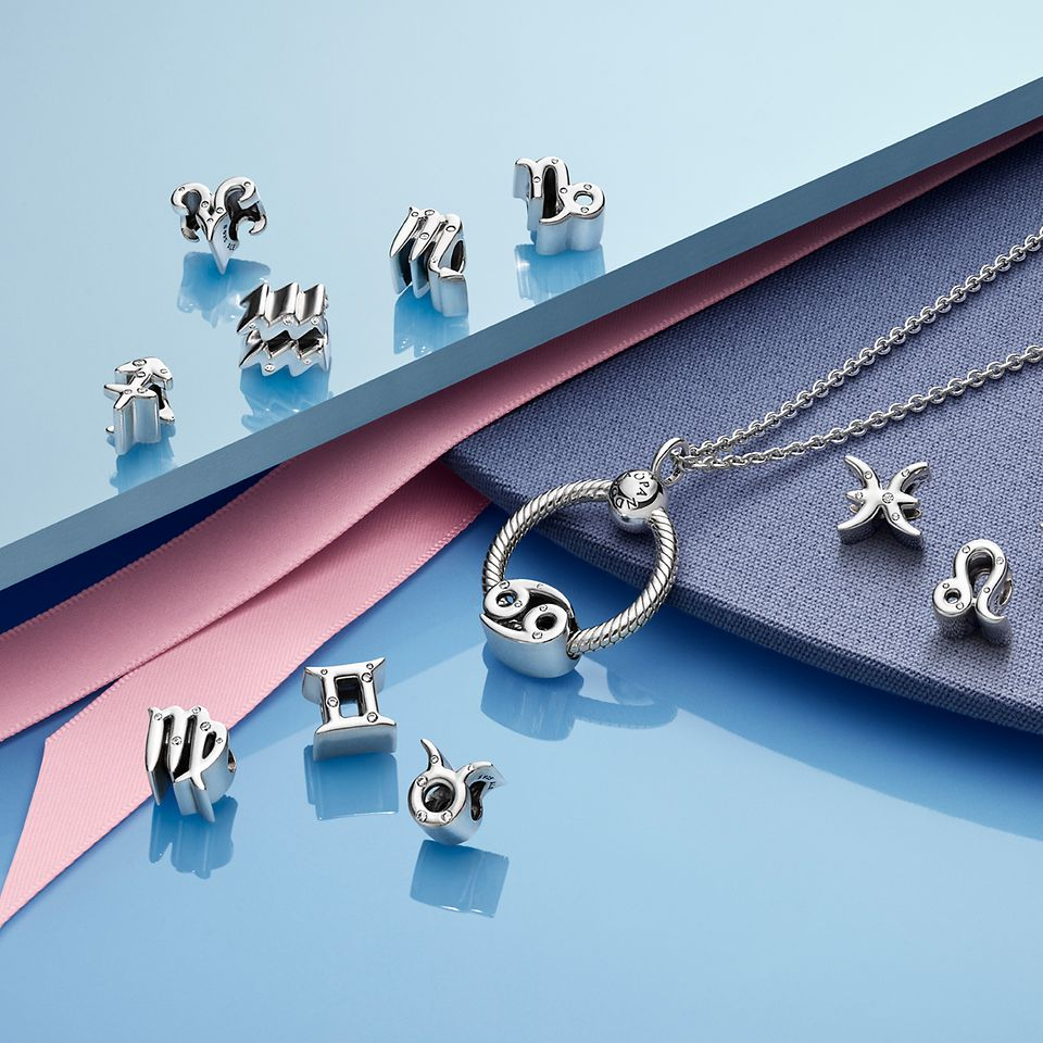 Wear your zodiac sign close to your heart with the O Pendant and the Pandora Zodiacs collection charms in sterling silver.