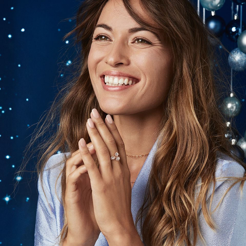 The Timeless Elegance collection in Pandora Rose features stackable open designs, raised stones and is perfect for holiday gifting.