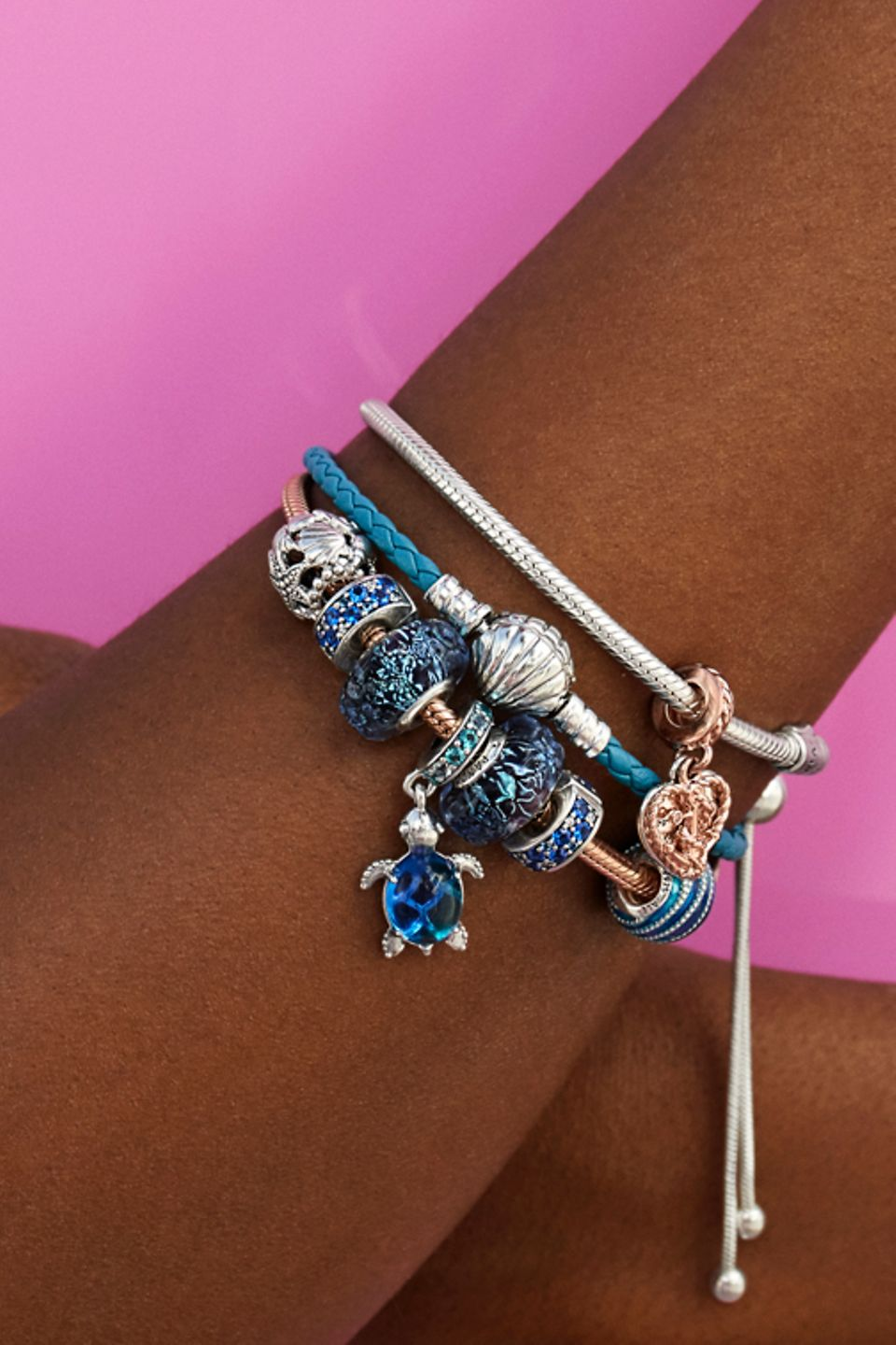 Add ocean charms to your blue leather bracelet.