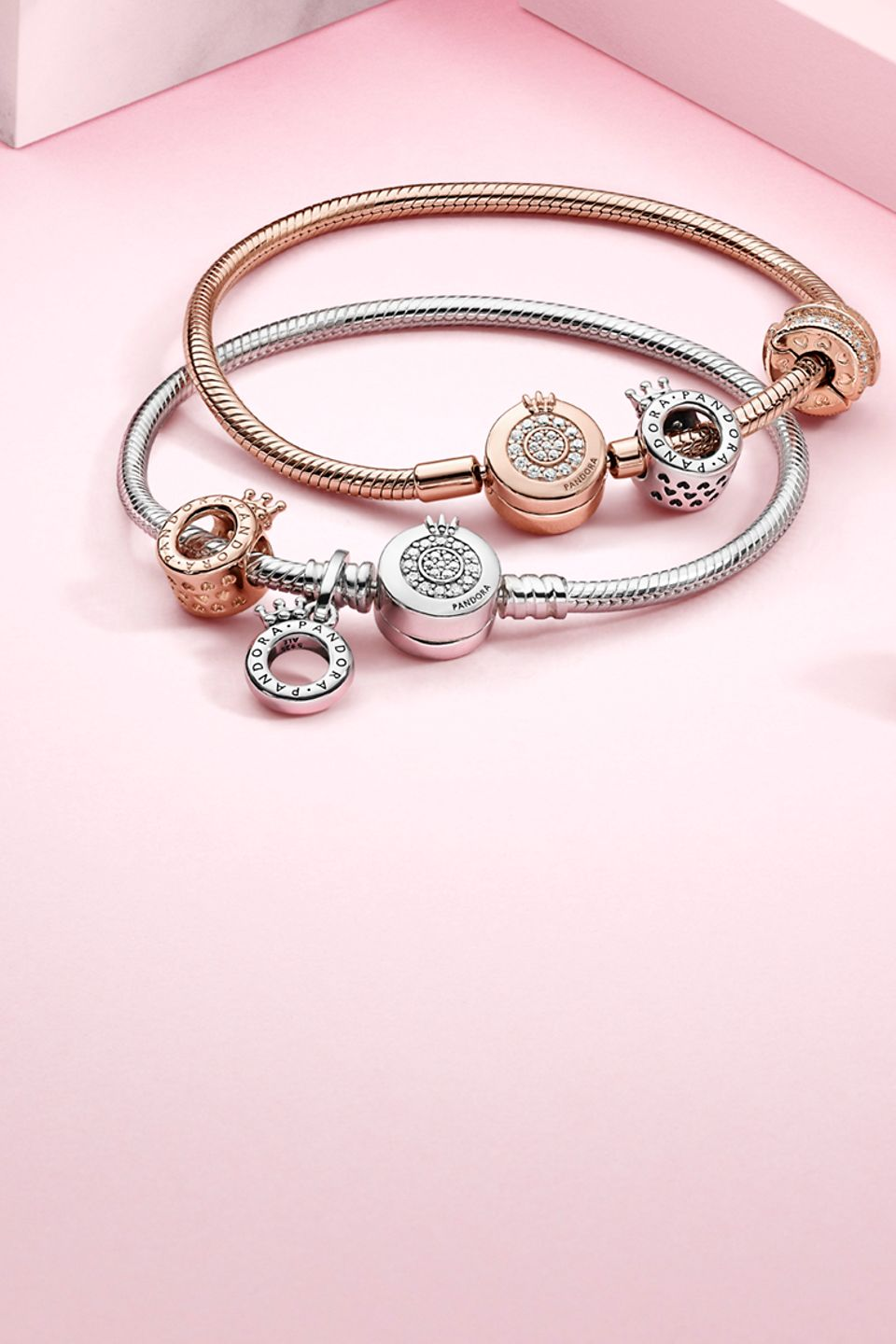 Pandora Signature charms and bracelets in sterling silver and Pandora Rose