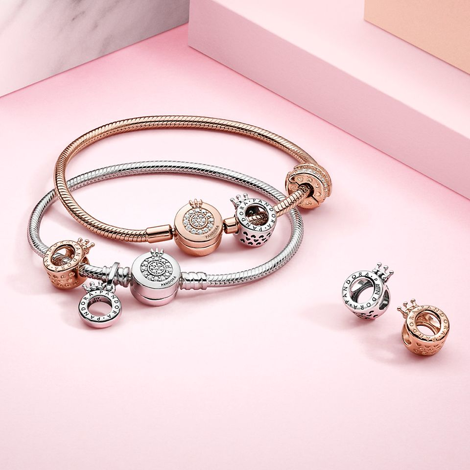 Pandora Signature charms and bracelets in silver and Pandora rose